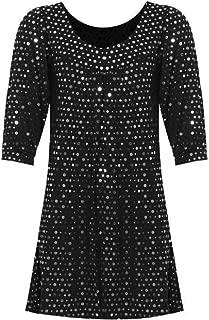 Ladies Plus Size Women 3/4 Sleeve Smock Tunic Gypsy Shiny Sequin Polka Dot Top UK Size 14-26