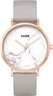 Cluse Women's La Roche 38mm Grey Leather Band Steel Case Quartz White Dial Analog Watch CL40005