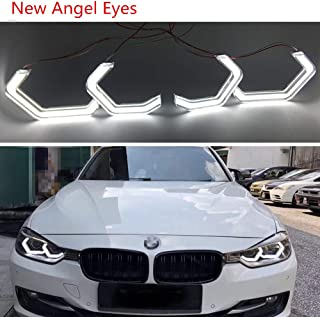New Angel Eyes light M4 STYLE for bmw Headlight Angel Eyes Retrofit 2/3/4/5 Series CRYSTAL ICONIC STYLE LED angel eye (White Only)
