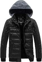 Wantdo Men's Padded Fleece Faux Leather Jacket Coat Winter with Hood
