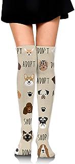 Adopte No compre Tela para perros Muchacha de bronceado sobre calcetines hasta la rodilla Medias altas 65 Cm / 25.6In