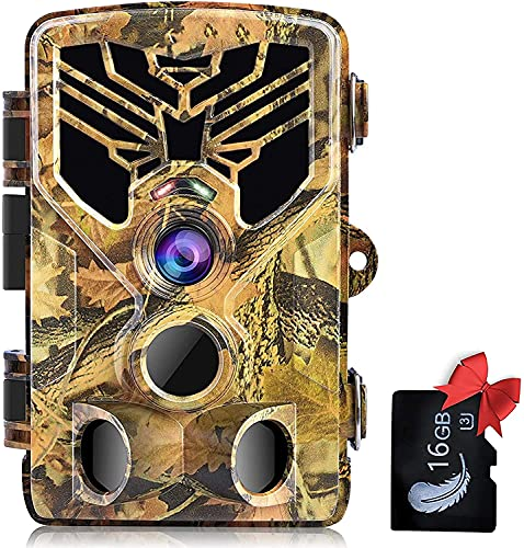 SuntekCam Fotocamera Caccia Fototrappola per la fauna selvatica 24MP 2.7K con scheda SD da 16GB fototrappolaper la visione notturna a infrarossi con LED IR 940nm, timer e impermeabile IP66-HC-810A