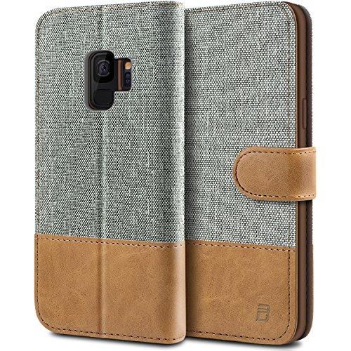 BEZ Hülle für Samsung Galaxy S9 Hülle, Handyhülle Kompatibel für Samsung Galaxy S9, Handytasche Schutzhülle Tasche Case [Stoff und PU Leder] mit Kreditkartenhaltern, Grau