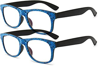 Inlefen Reading Glasses 2 Pack Unisex Plastic frame fashion Blu-ray reading glasses anti-fatigue presbyopic glasses