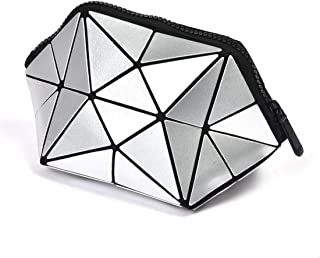 Geometric Makeup Bag Cosmetic Pouch Bag Makeup Clutch with Zipper Toiletry Bag for womenFoldable Toiletry Bag-Half Dome Handbag (Silver)