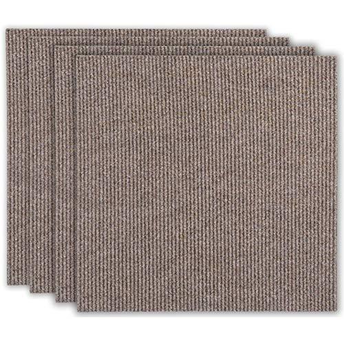 andiamo Teppichfliesen selbstklebend Teppichboden Bodenbelag Fliese à 50x50cm, Farbe:Beige, Größe:4 m²
