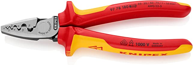 Knipex 97 78 180 Crimping Pliers For End Sleeves (Ferrules) Insulated With Multi-Component Grips, Vde-Tested, 180 mm