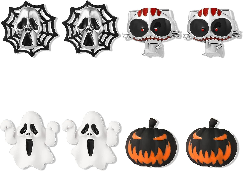 4 Pairs Horror Halloween Earrings Set Steampunk Pumpkins Ghost Spider Web Cat Studs Earrings for Women Girls