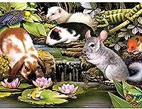 Bcbfgfdgbz ししゅうキット 初心者セット 14CT プレプリント刺繡工芸品のフルレンジを初心者向けマルチカラーパターンスターターキット室内装飾40×50cm 漫画のマウスのパターン