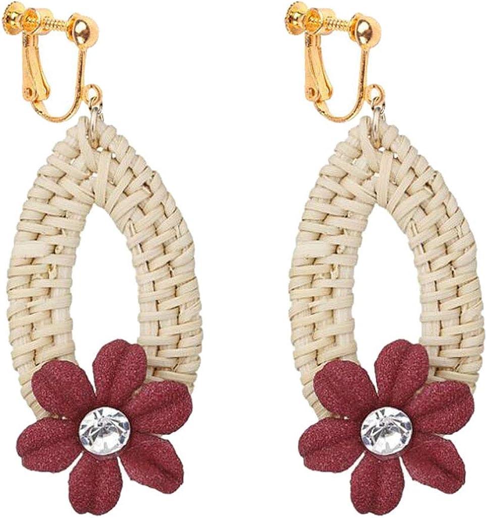 Statement Raffia Clip on Earrings for Women Girls Boho Weave Straw Wicker Rattan Flower Teardrop