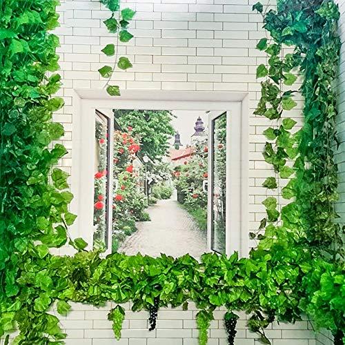 UNIVIEW 12 Plantas Piezas Hoja de la Hiedra Garland plástico Verde Largo de la Vid Flor Artificial for el hogar decoración de la Boda decoración