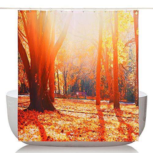 Topmail 3D Duschvorhang aus Polyester mit 12 Duschvorhangringe für Badezimmer Wasserabweisend und Anti-Schimmel Waschbare Badvorhang (240 x 200 cm)