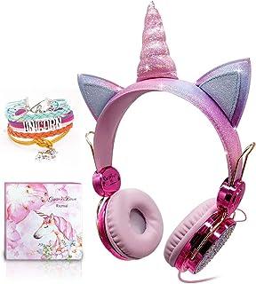 Kids Hoofdtelefoon, Eenhoorn Sparkly Rhinestone Kinderhoofdtelefoon voor meisjes, roze bedrade hoofdtelefoon over oor met ...