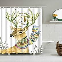 JMHX Elk Floral Shower Curtain Moose Deer 3D Bath Curtain Single Printing Waterproof Bath Cover for Bathtub