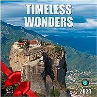 (レッドエンバープレス) Red Ember Press Timeless Wonders 2021 壁掛けカレンダー 開いた時12インチ x 24インチ 厚くて丈夫な紙 文明を探検