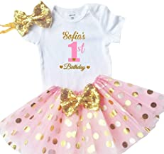 Funmunchkins Personalized Baby Girls 1st Birthday Outfit, Sparkly Gold Glittering Font Design with Tutu