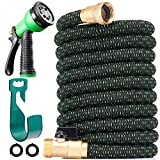 150 ft Expandable Garden Hose - All New 2019 Retractable Water Hose with 3/4' Solid Brass Fittings, Extra Strength Fabric - Heavy Duty Flexible Expanding Hose with 8 Pattern Spray Nozzle & Hose Holder