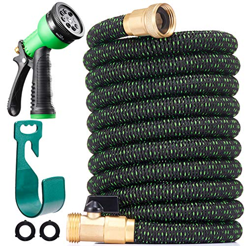 "150 ft Expandable Garden Hose - All New 2020 Retractable Water Hose with 3/4"" Solid Brass Fittings, Extra Strength Fabric - Heavy Duty Flexible Expanding Hose with 8 Pattern Spray Nozzle & Hose Holder"