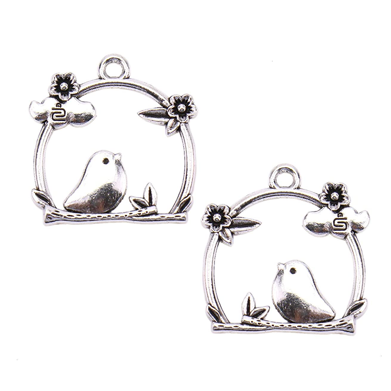 Monrocco 40Pcs Bird Cage Flower Charms Pendant Jewelry Findings for Jewelry Making Necklace and Bracelet (Antique Silver)