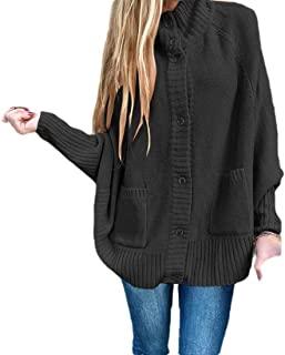 Womens Oversized Open Front Cardigans Chunky Long Warm Button Down Knit Sweaters Coats