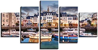 wsydd Art The Cloud Tree Wall Art Oil Paintings Dock Boat Canvas Prints for Home Decorations, 5 Panels