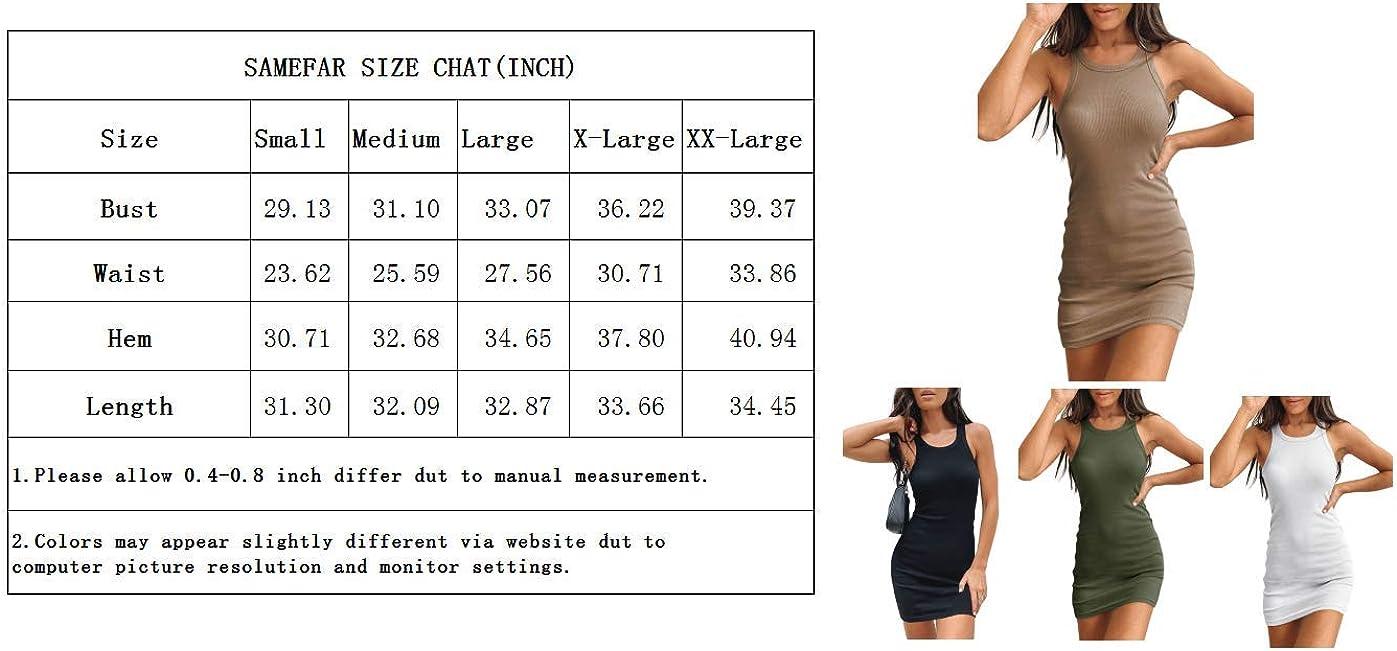 Samefar Womens Ribbed Scoop Neck Sleeveless Tank Dresses Basic Bodycon Mini Dress