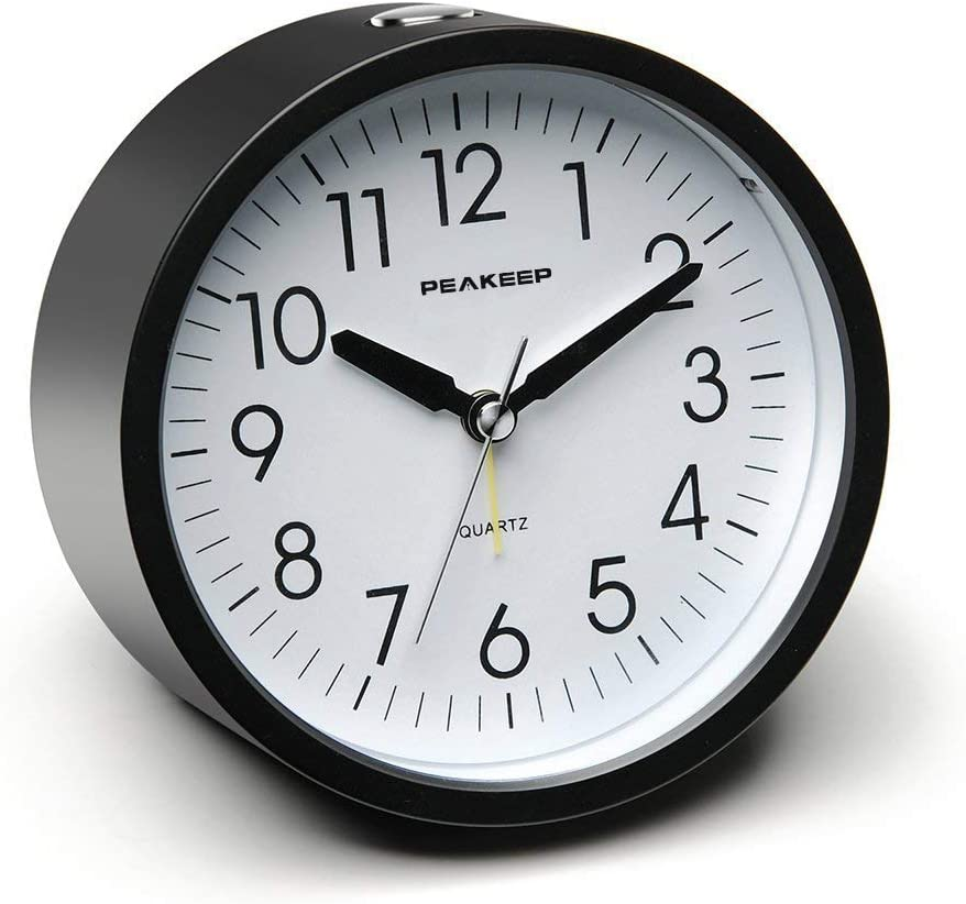 Peakeep Battery Operated Alarm Clock Non Beauty products NEW Silent Gentle Ticking