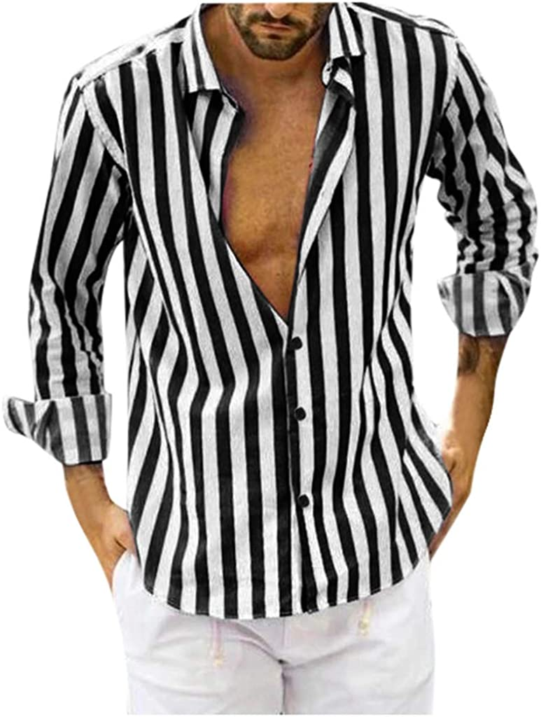 Men's Long Sleeve Button Down Solid Shirt Classic Casual Vertical Striped Slim Fit Dress Shirts Formal Shirt