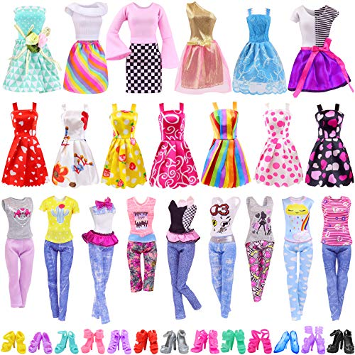 Ecore Fun 30 PCS Doll Clothes and Accessories 5 Fashion Clothes Sets 5 Fashion Skirts 10 Mini Dresses 10 Shoes Fashion Casual Outfits Set Perfect for 11.5 inch Dolls