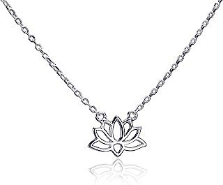 Materia Collier en argent 925 avec cha/îne et pendentif en forme de fleur de lotus Pour femme ou fille Avec /écrin cadeau