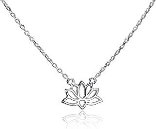 MATERIA Collar de flor de loto de plata 925 – Collar con colgante de flor de loto pequeño para mujer 40 – 45 cm ajustable CO-32