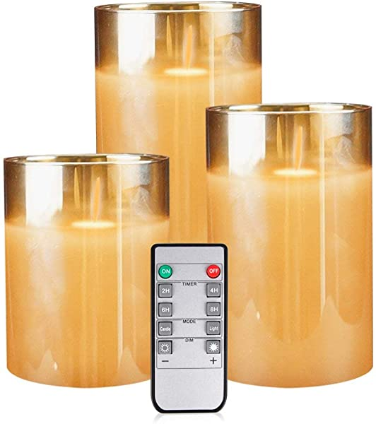 Yinuo Mirror LED Flameless Candles Battery Operated Flickering Candles Pillar Real Wax Moving Flame Electric Candle Sets Gold Glass Effect With Remote Timer 4 5 6 Pack Of 3