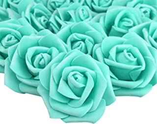 Lightingsky 7cm DIY Real Touch 3D Artificial Foam Rose Head Without Stem for Wedding Party Home Decoration (100pcs, Tiffany)