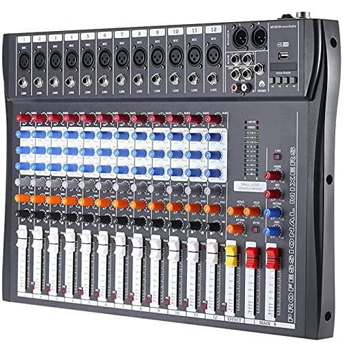 Mesa Mezcladora de Sonido para DJ, Mezclador de Audio Bluetooth Profesional, Consola Mezcladora de Sonido USB para DJ, Conector MP3, 12 Canales, Karaoke, 48 V, Alimentación Fantasma para Estudio