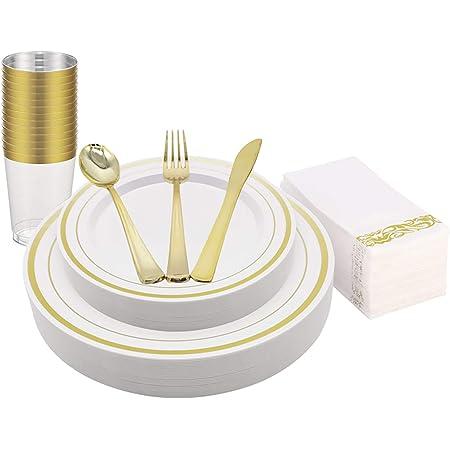 KAPATI - Vajilla de plástico desechable, color dorado, 25 platos, 25 platos de ensalada, 25 cucharas, 25 tenedores, 25 cuchillos, 25 tazas, 25 servilletas de lino para bodas, fiestas y otras ocasiones (175 piezas)
