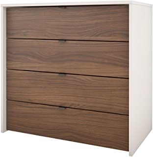 Nexera 4-Drawer Chest, White/Walnut