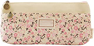Sanwooden Creative and Fashionable Elegant Flower Zipper Pencil Case Cosmetic Makeup Bag Students Stationary Gift - Beige