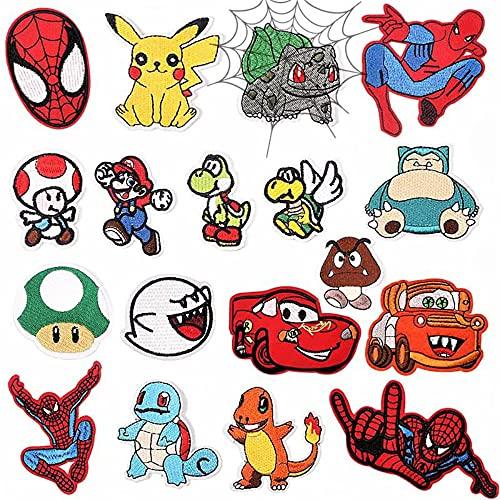 Lot de 18 écussons thermocollants pour enfant Super Mario Bros Pokemon Spider Man - À repasser - Pour vêtements, vestes, sacs à dos, jeans, etc.