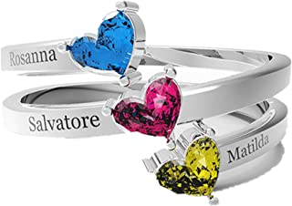 Personalzed Mother's Day Rings For Mothers Child 3 Created Birthstone Name Rings Family Moms Prom Jewelry Rings