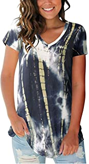 Padaleks Womens Short Sleeve T Shirt V Neck Summer Casual Loose Tunics Tops Tie Dye Shirts Blouses Tee