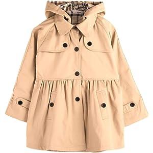 (sleeping sheep) 子供服 キッズ 女の子 スプリング コート フード付き 裏地 かわいい チェック 柄 トレンチコート (100, 花柄)