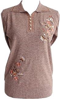 Comaba Women Blouse Knit Turn-down Collar Fall Winter Casual Loose Tee Shirt