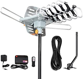 Digital Outdoor Amplified hd tv Antenna 150 Miles Range,Support 4K 1080p and 2 TVs with 33 ft Coax Cable,Adapter,mounting ...