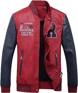 Bofu Varsity Faux Leather PU Man Casual Baseball Jacket Bomber Outwear Coat
