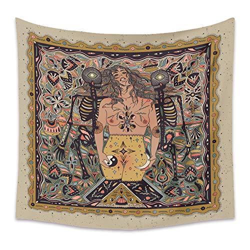 Wandteppich mit Totenkopf- und Mädchen-Motiv, dekoratives Stoffbild, Hintergrundstoff, Vorhang Wandkunst, florales Tapisserie(GT33-22, 130 x 150 cm)