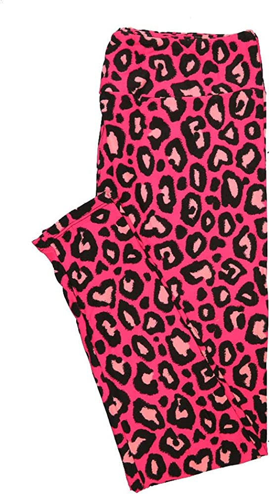 Lularoe One Size OS Leopard Print Pink Black Halloween Buttery Soft Leggings - OS fits Adults 2-10