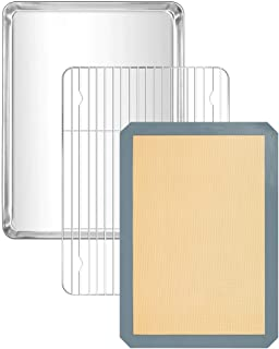 Ultimate Baking 3-Pack Bakeware Set (Stainless Steel Baking-Sheet, Sheet Pan Cooling-Rack, Silicone Baking-Mats), Baking Tray Cookie Sheet Bread Pan Baking Gifts, Baking Accessories and Tool(3 Packs)