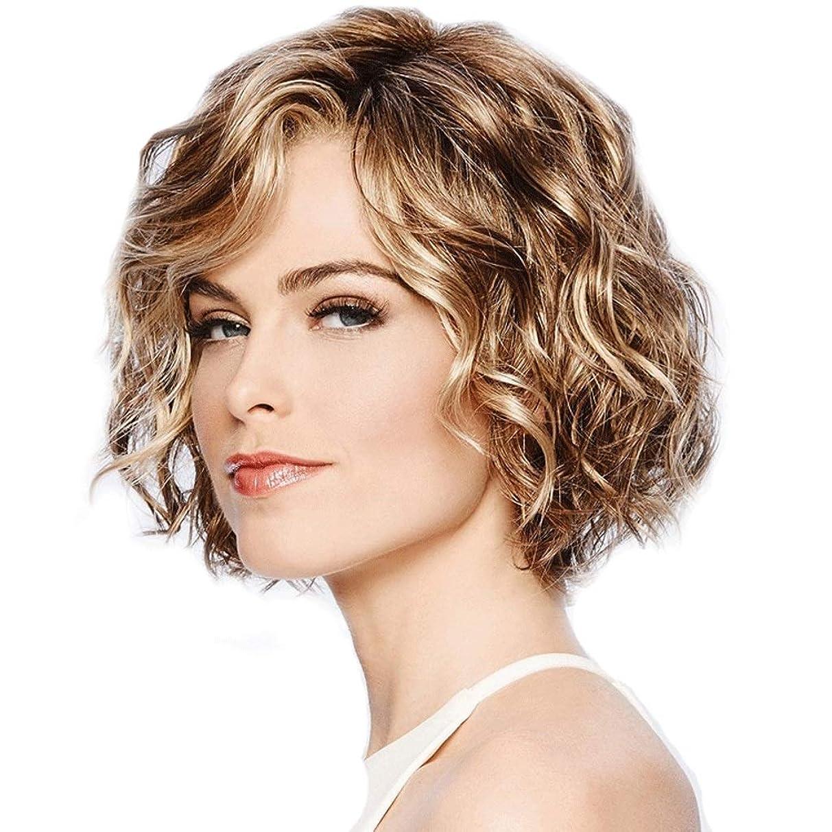 食欲魂誰が女性のショートカーリー波状のかつらセクシーなボブ耐熱繊維合成かつら、女性ハロウィンコスプレ衣装ファンシードレスパーティー日常使用 (色 : Blond)