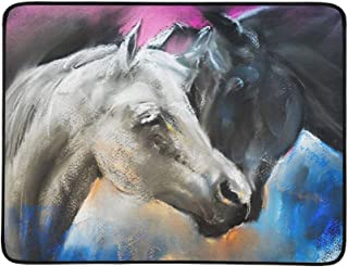 Pastel Portrait of A Couple Horses On A Cardboard Pattern Portable and Foldable Blanket Mat 60x78 Inch Handy Mat for Camping Picnic Beach Indoor Outdoor Travel