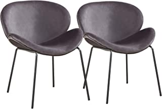 GreenForest Velvet Accent Chairs Modern Large Shell Chairs for Living Room Leisure Chair for Bedroom Set of 2, Grey